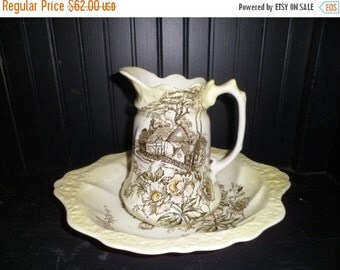 Valentine SALE Antique Pitcher and Basin Old Foley Staffordshire English Cottage Scene Brown