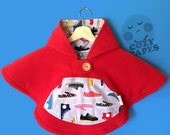 Car Seat Poncho Cape Fleece (Red Sneakers)