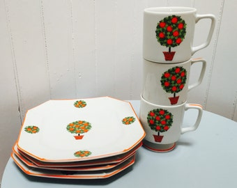 Vintage 1960s Japanese Orange Tree Cups and Saucers