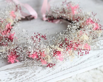 pink and white  baby breath crown,pink flower girl,rustic wedding accessories
