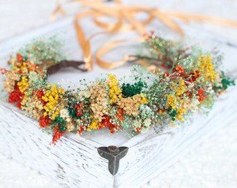 dried flowers floral crown,wreath,flower girl,rustic wedding accessories