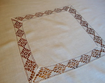 Linen Crochet Tablecloth Vintage Ivory Linen Table Cover with Crochet Trim