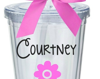 Flower Girl Tumbler with Lid and Straw (BPA-free)