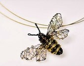 reserved Bee necklace Bee jewelry Wire bee sculpture Handmade Insect necklace Bee pendant Unusual necklaces Unique pendant necklace.