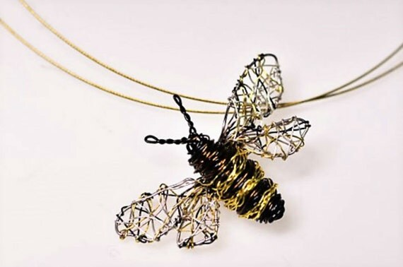 Bee necklace Bee jewelry Wire bee sculpture Bee art jewelry Handmade Insect necklace Bee pendant Unusual necklaces Unique pendant necklace.