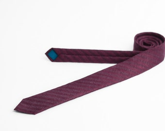Merlot red tie, skinny tie, tie with stripes