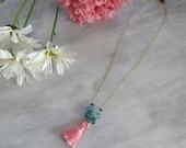 SALE: Bubble Gum Tassel Necklace