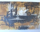 vintage painting, abstract on board, earth tones, double sided, Dona,from Diz Has Neat Stuff