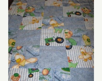 Summer Sale SALE - John Deere Tractor, Teddy bear and duck baby crib quilt