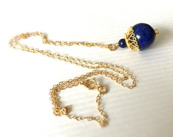 Lapis Necklace -  Lapis Jewelry - Navy Blue Necklace - Lapis Lazuli - Gold Jewelry - Chain Jewellery - Gemstone - Pendant