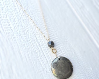 Pyrite Necklace - Gold Jewelry - Fools Gold - Gemstone Jewellery - Long - Pendant - Mixed Metal