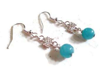 Blue Earrings - Silver Jewelry - Jade Gemstone Jewellery - Fashion - Bow - Dainty
