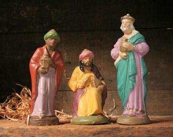 Vintage wise men, Germany, Creche figurines, The Magi figurines