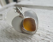 Golden Sea Glass Heart Sterling Silver Necklace