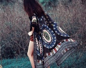 Vintage Post-Apocalyptic Boho Kimono Coat Floral Printed Tassel Chiffon Cardigan Summer Beach cover-up