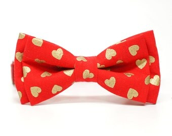 Metallic Gold Heart in Red bow tie, pre-tied for all ages - ring bearer, church and family photo, valentines gift