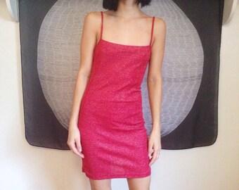 Red Sparkle Midi Pencil Dress