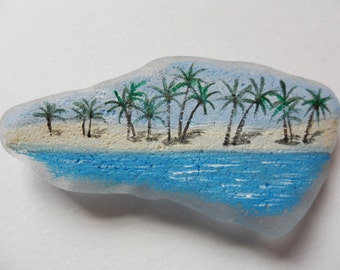 Brazilian beach trees - Original miniature painting on large English sea glass