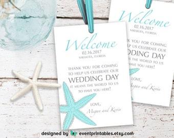 Printable Starfish Welcome Tag, Beach Wedding Thank You Tag, Custom Color DIGITAL FILE by Event Printables