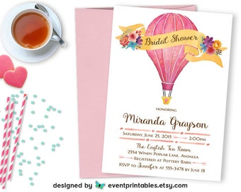 Hot Air Balloon Printable Invitation, Watercolor Bridal Baby Shower Birthday Party Digital Invite, Pink Blue Flowers by Event Printables