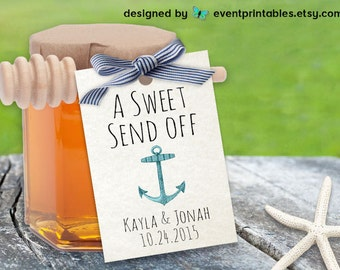 Printable Beach Wedding Favor Tags, Sweet Send Off Nautical Theme Anchor Gift Tags, Bridal Shower Thank You Favour Tags by Event Printables