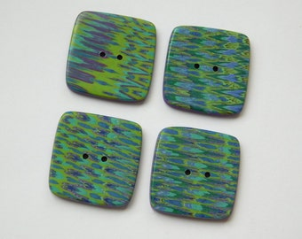 Square Handmade Polymer Clay Buttons, 24 mm  buttons
