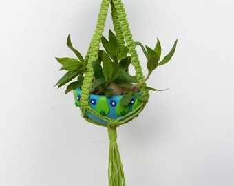 Macrame Planter with matching Polymer Clay Bowl, mini plant hanger, air planter holder