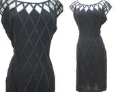 "Vintage 1950s Black Cage Lattice Dress with Sheer Neckline and V Back with 42"" Bust"