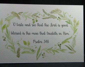 Customized Original Hand Painted Green Wreath Watercolor Scripture Art
