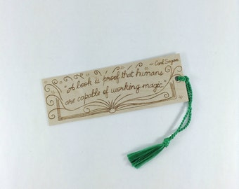 Wooden Bookmark - Hand Pyrography - Fun Book Quote