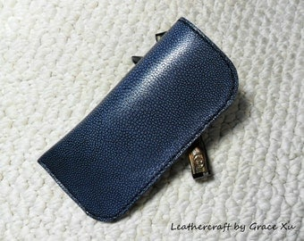 100% hand stitched handmade bluish gray cowhide leather eyeglasses case