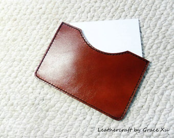 """100% hand stitched handmade reddish brown cowhide leather 3"""" x 5"""" index cards pouch / holder / case"""