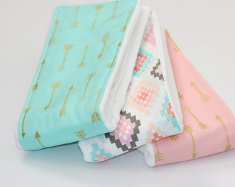 NEW - Baby Burp Cloths - Set of 3 - Shimmer Arrows in Mint and Blush