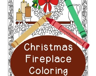 Christmas Coloring Page, Adult Coloring Page, Holiday Fireplace Coloring, Fireplace Hearth Wreath Garland Candles Mantle Holly