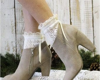 Lace socks for heels, PARIS Peek a BOW Cream,  crochet knit socks, lacy socks, anklets, country grace wedding,rustic, boho | CS5