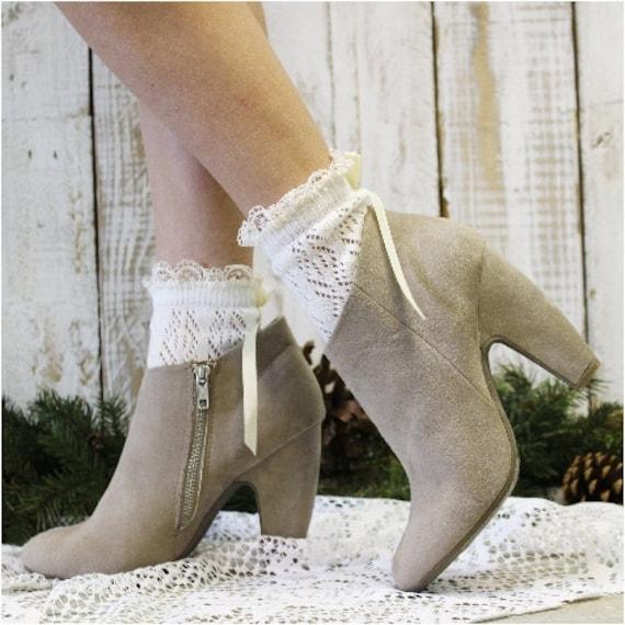 Lace socks for heels, PARIS Peek a BOW Cream,  crochet knit socks, lacy socks, anklets, country grace wedding,rustic, boho | CS5