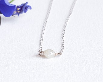 Diamond Necklace, Diamond Bead Necklace, Silver Diamond Necklace, Minimal Necklace, Layered Necklace, Layering Necklace, Bridesmaid Gift