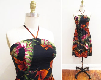 Vintage 1970s Dress | Tropical Print 1970s Halter Dress | size xs