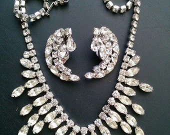 Vintage  Signed WEISS Crystal Rhinestone Deco Cluster Earring and  Necklace