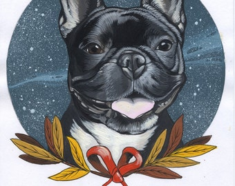 Original French Bulldog Drawing