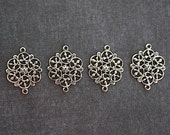Filigree Antiqued Silver Finish Brass Connector -18x14mm-  4 Pieces
