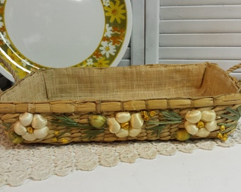 Woven Straw & Raffia Tray Basket Kitchen Basket Floral Basket