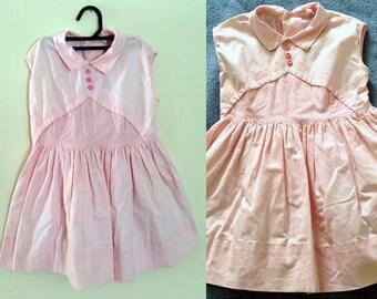 Vintage Childrens 1940s Pink Dress / 1940s Child Dress / Vintage Toddler Dress