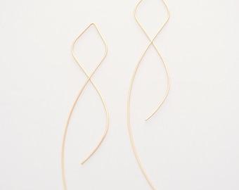 Gold Filled Thread Earrings Simple Gold Earrings Long Hoop Earrings