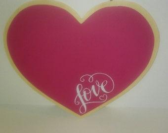 """Chalkboard/Wooden Heart with Vinyl """"Love"""""""