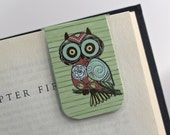 Laminated Magnetic Bookmark Owl Hoot Nature Forest Woods Flower Rose Teacher Gift Christmas Valentines Student College