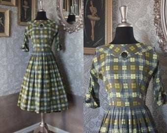 Vintage 1950's Green and Gray Cotton Dress with Pleated Skirt Small