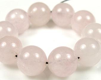 Quality Rose Quartz Round Bead - 12mm - 10 Pieces - B5339