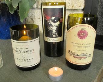 Set of 3 Wine Bottle Vases / Candle Holders