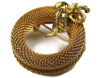 Vintage Gold Ribbon Brooch